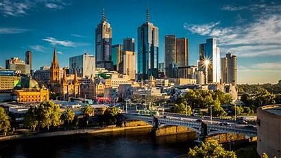 Melbourne Australia Wallpapers Desktop Rivers Bridges Skyscrapers