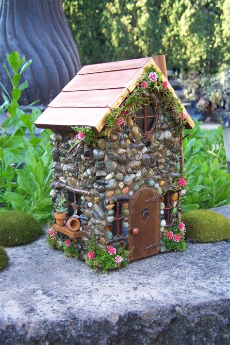 fairy garden house  copper roof fairy cottage