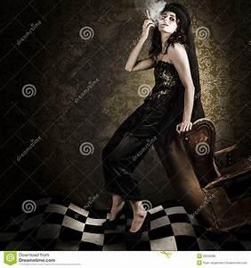Fine Art Grunge Fashion Portrait In Dark Interior Stock ...