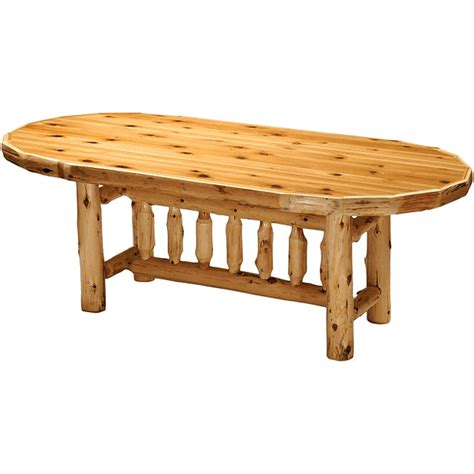 standard 8 foot table cedar log standard finish oval dining table 8 foot