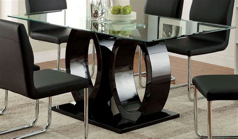 lodia  black glass top rectangular pedestal dining room