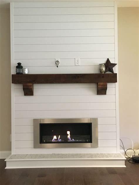 shiplap bioethanol fireplace  rustic beam mantle