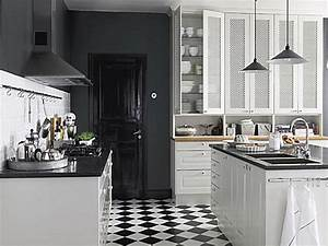 Black and white kitchen floor modern bistro kitchen black for Kitchen colors with white cabinets with modern black and white wall art