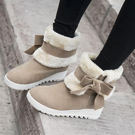 warm winter ankle boots women cute bowtie faux fur