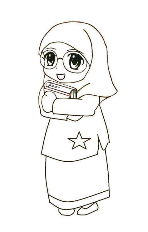 mewarnai gambar anak muslimah pakai cermin mata