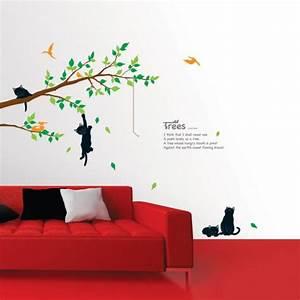 Stickers Arbre Noir : stickers muraux fleurs sticker arbre et chats ambiance ~ Teatrodelosmanantiales.com Idées de Décoration