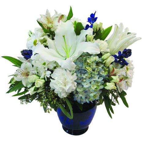 vase of flowers blue and white vase of flowers buffalo ny lipinoga florist