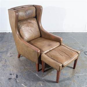 Danish, Wingback, Leather, Lounge, Chair, Ottoman, -, Vintage, Mid-century, Furniture