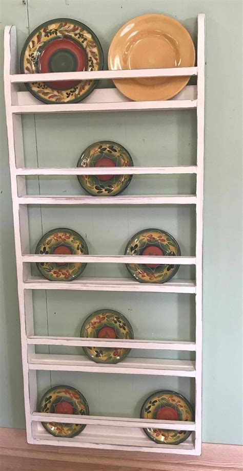 farmhouse plate rack wall hanging country rustic plate rack stand platter  plate