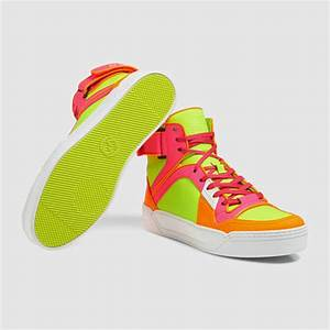 Gucci New Basketball Neon High top Sneaker in Green