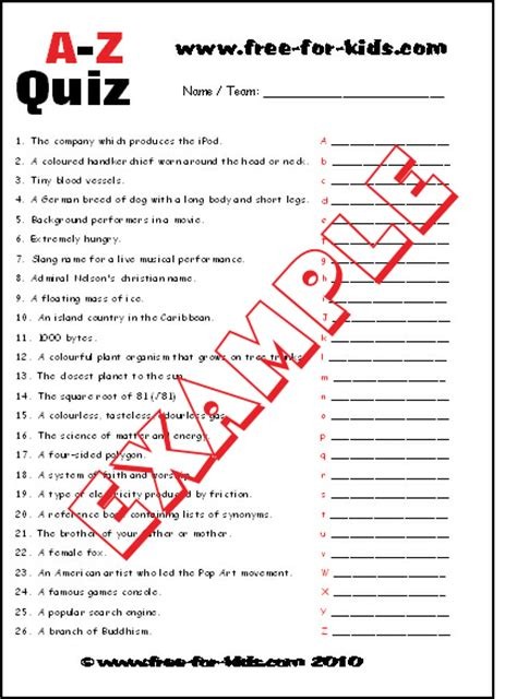 a to z quiz questions for children and teenagers
