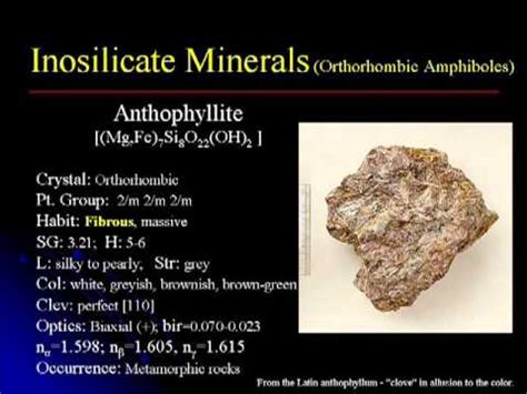 crystallography mineralogy lecture  inosilicates