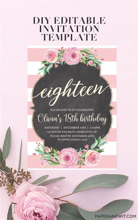 18th Birthday Party Ideas Pink floral girls 18th birthday