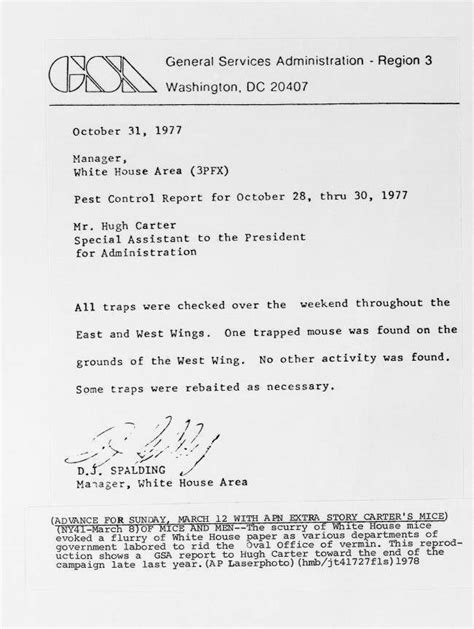 1978 Letter About Vermin In Jimmy Carter's White House