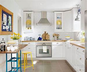 make a small kitchen look larger better homes gardens With kitchen colors with white cabinets with how to make facebook stickers