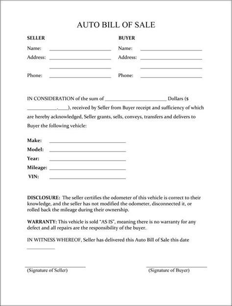 printable sample vehicle bill  sale template form