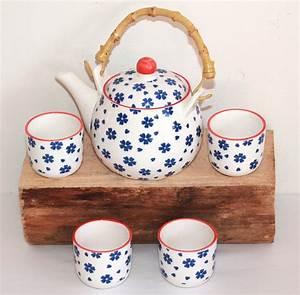 Geschirr Blau Weiß : asia art factory 270 asia teeset teeservice teekanne tassen 5 tlg weiss blau blumen kinder ruka ~ Markanthonyermac.com Haus und Dekorationen