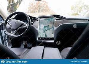 Bordeaux , Aquitaine / France - 11 30 2019 : Tesla Interior Digital Dashboard On Electric Car ...