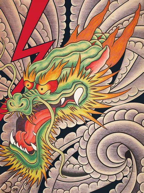 japanese dragon fine art print  lightning clouds wind