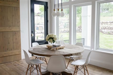 modern farmhouse home  kitchen dining living spaces