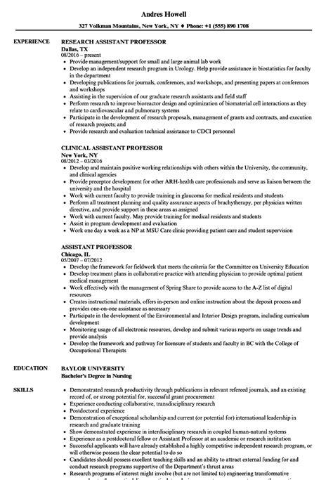 Professor Resume by Assistant Professor Resume Sles Velvet