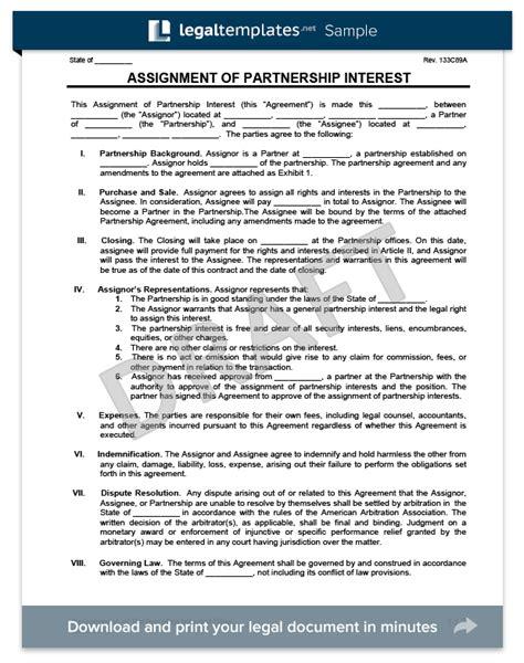 assignment  partnership interest legal templates