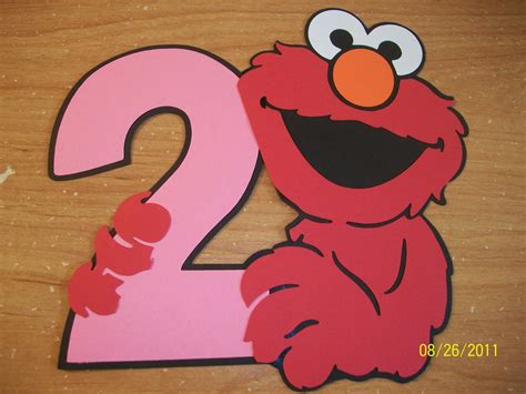 Elmo Holding A Number 2 In Your Color Choices Die Cut Set