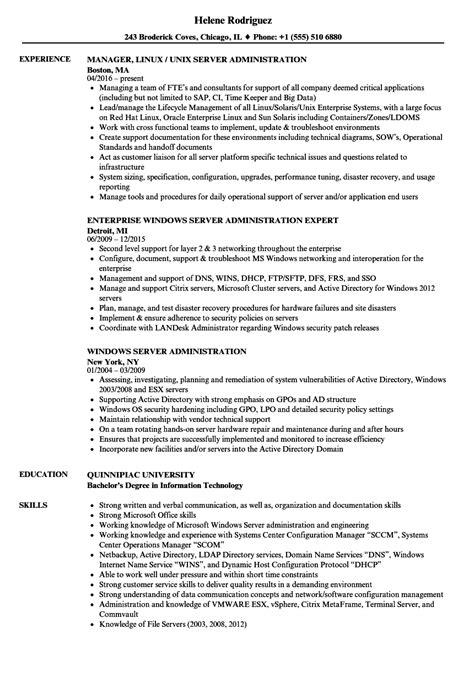 server administration resume sles velvet