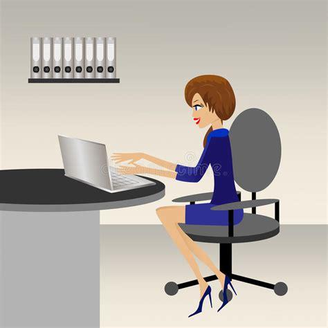 travail dans un bureau la femme d 39 affaires travaille dans un bureau illustration