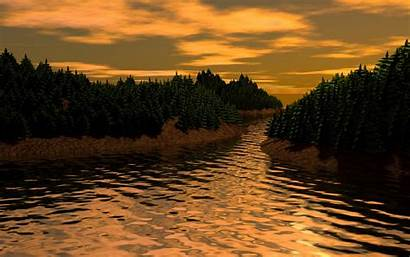 3d River Landscape Background Trees Widescreen Fhd