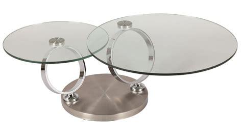 canapé convertible d angle pas cher table basse ronde en verre trempé et acier brossé pas cher