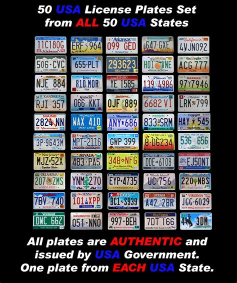 Fifty Usa License Plate Set All 50 United States Number