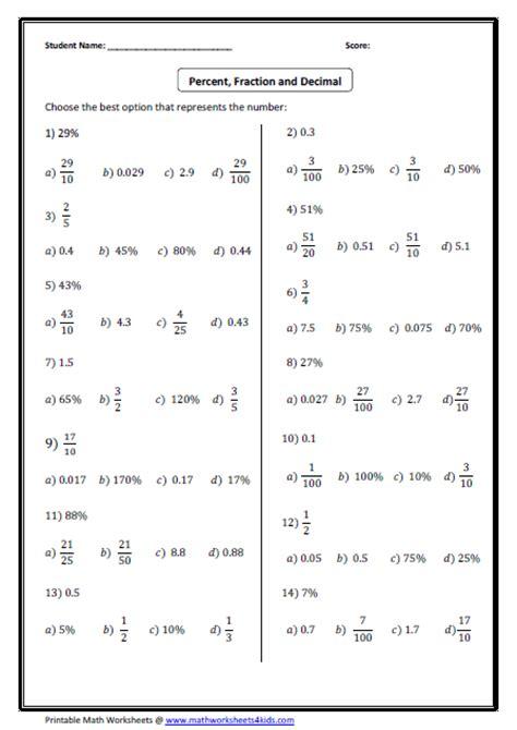 convert  fraction decimal  percent worksheets