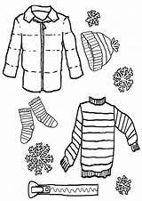 Coloring Clothes Winter Pages Stuff sketch template