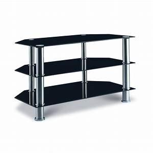 Bureau Verre Trempé Noir : deco in paris meuble tv en verre trempe noir trio tv trio ~ Melissatoandfro.com Idées de Décoration