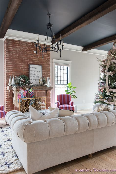 vintage living room black ceiling brick fireplace dark