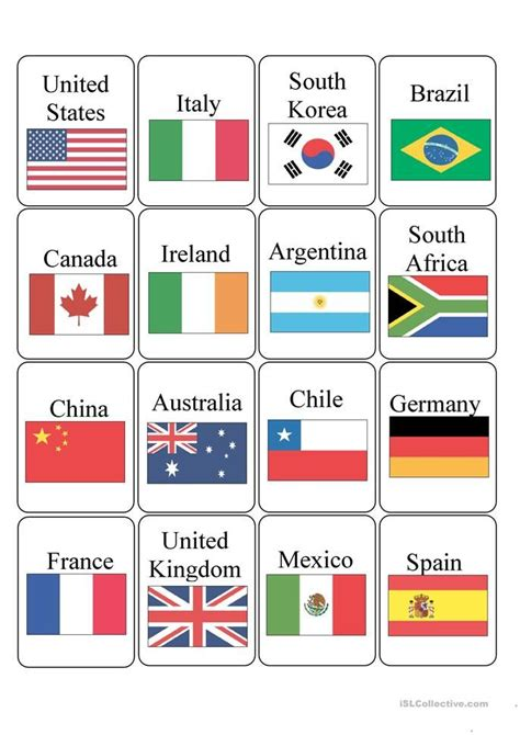 countries english esl worksheets world flags