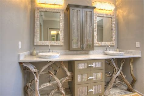 Tropical Mirrors Bathroom by Decorating With Driftwood Abode