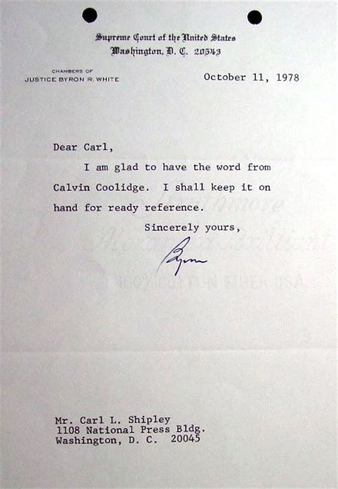 justice byron white letter mentions calvin coolidge