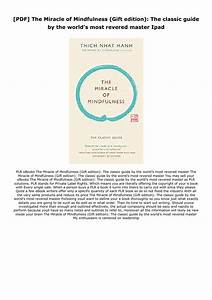 Pdf  The Miracle Of Mindfulness  Gift Edition   The