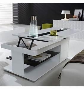 Table Relevable Blanche : table basse relevable laqu e blanche et verre noir deco et saveurs ~ Teatrodelosmanantiales.com Idées de Décoration