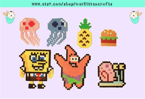Spongebob Squarepants Perler Magnets By Merkittencrafts
