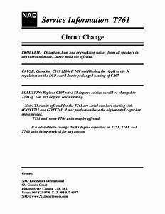 Nad T761 Heated Capacitor Service Info Service Manual