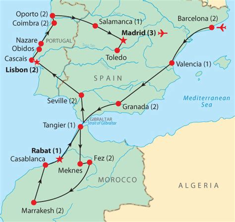 Carte Sud Espagne Portugal by Map For Spain Portugal Morocco Travel