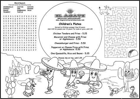 Coloring Ideas by Children S Menus Kid S Coloring Menus For Restaurants