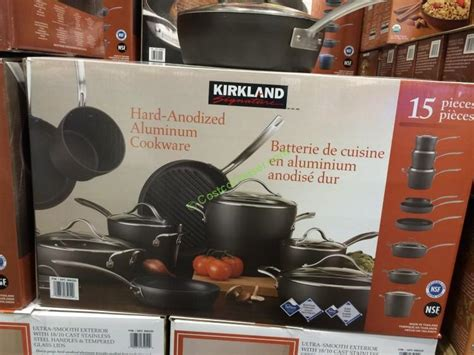 kirkland signature  piece hard anodized cookware set costcochaser