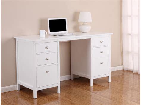 bureau albane 4 tiroirs 1 porte pin massif blanc