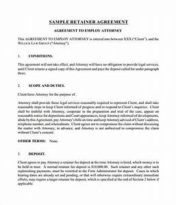 sample retainer agreement 6 example format With retainer fee agreement template
