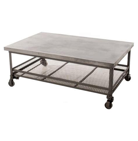 galvanized steel coffee table urban mercantile galvanized steel industrial coffee table