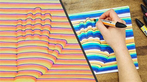 hand drawing step  step   trick art optical